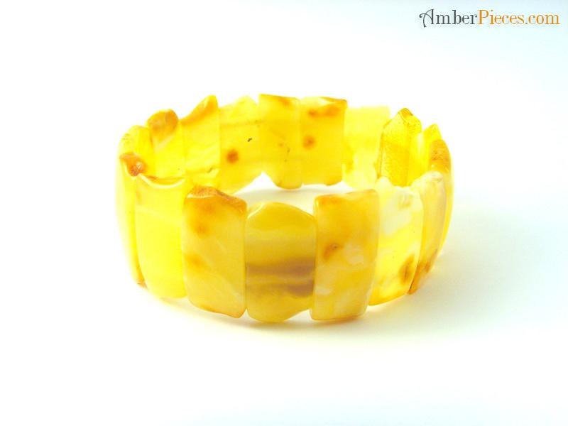 Authentic Baltic Amber Bracelet Butter Color Flat Pieces