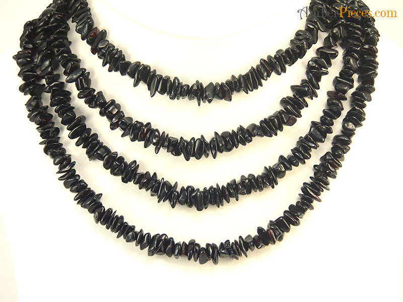 Fine Baltic Amber Necklace Long Dark Nuggets 158 Cm 62 Inches