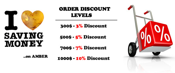 Discount levels on Amber Jewelry