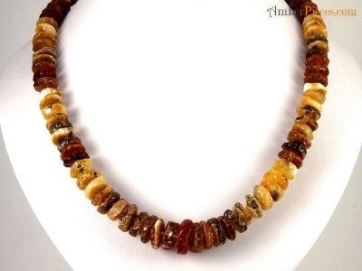 Authentic Baltic Amber Necklace Multi Color Button Shape