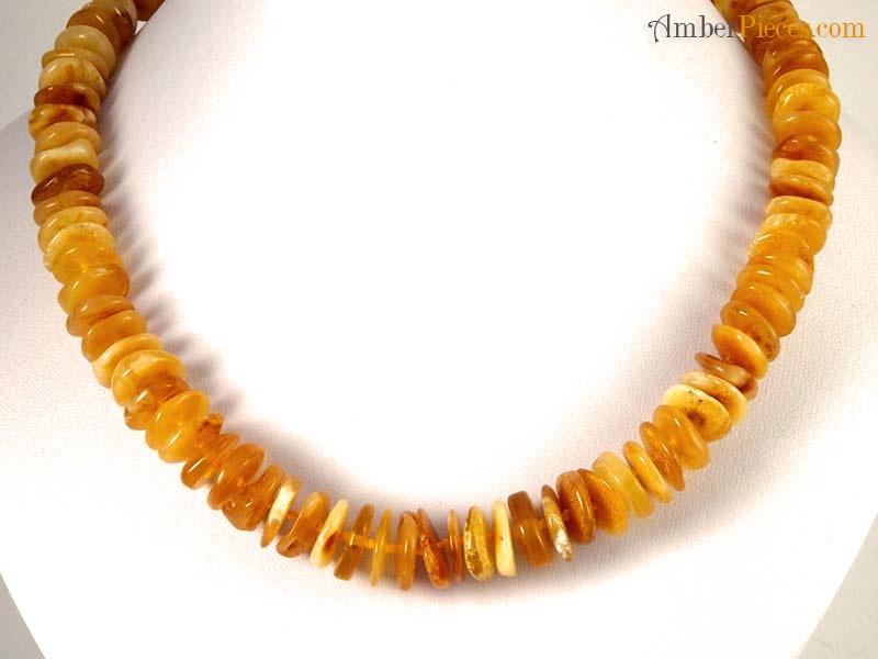 Baltic Amber Necklace Butterscotch Button Shape Beads 48