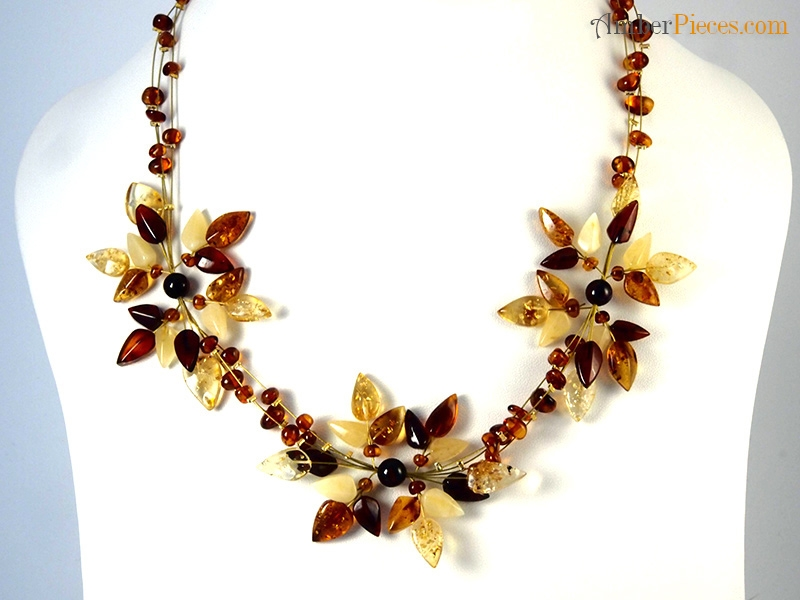 Fine Baltic Amber Necklace Flower Brooch Several Colors