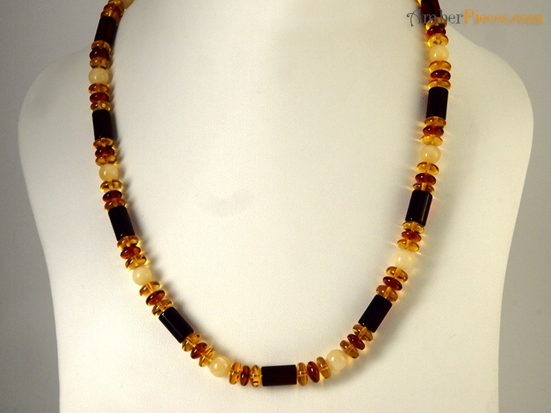 Authentic Baltic Amber Necklace Multi Color Cylinder Form