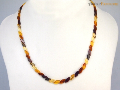 Fine Baltic Amber Necklace Several Threads Mixed colors Multiple Type Beads 46 cm 18 inches