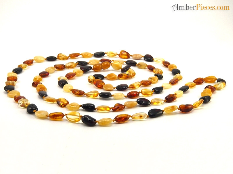Natural Baltic Amber Necklace Long Multi Color Oval Stones