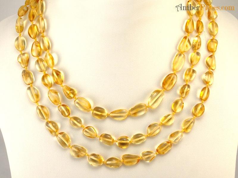 Exclusive Baltic Amber Necklace Long Lemon Color Oval Form